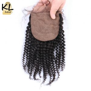 KL Hair Silk Base Closure Kinky Curly Free Part Brazilian Remy Hair Silk Closure Bleached Knots With Baby Hair For Balck Women
