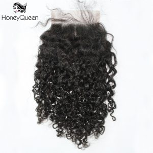 3bc Kinky Curly 4x4 Free Part Lace Closure With Baby Hair Brazilian Remy Hair Honey Queen