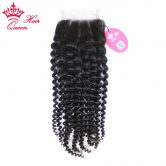 "Queen Hair Products Brazilian Kinky Curly Virgin Hair Lace Closure 3.5""x4""100% Human Hair slight Knots Bleached Free Part Style"