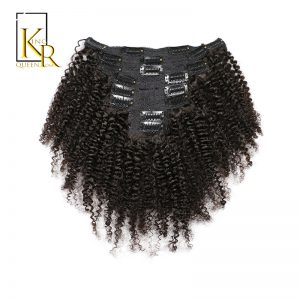 King Rosa Queen Afro Kinky Curly Clip In Human Hair Extensions 100% Brazilian Remy Hair 8 Pieces And 120g/Set Natural Color