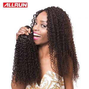 ALLRUN Brazilian Hair Kinky Curly Weave Human Hair Bundles 100% Remy Afro Hair Extensions Natural Color 1PC Hair Weaving