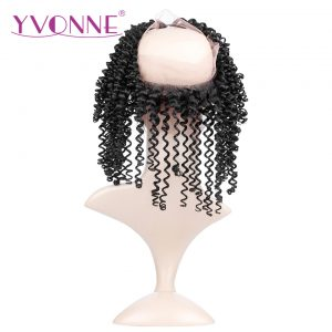 "YVONNE 360 Lace Frontal Brazilian Kinky Curly Virgin Hair 12""-16"" Natural Color 100% Human Hair With Adjustment"