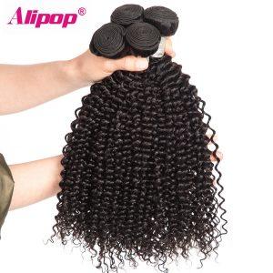 "[ALIPOP] Unprocessed Kinky Curly Hair Weave Bundles Brazilian Virgin Hair 1pc 10""-28"" Human Hair Bundles Natural Hair Extension"