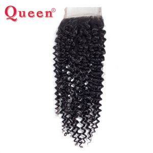 QUEEN Hair Products Brazilian Kinky Curly Weave Human Hair Lace Closure 4x4 Free Part Remy Hair Extension Can Mix 3 or 4 Bundles