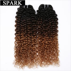 Spark Hair 1 PC Ombre Brazilian Kinky Curly Weave Human Hair Bundles T1B/4/30 3 Tone Ombre Remy Hair Extensions No Shedding