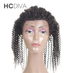 "HCDIVA Brazilian 360 Lace Frontal Closure Afro Kinky Curly Natural Color 8"" to 18"" Non Remy Human Hair Frontal with Baby Hair"