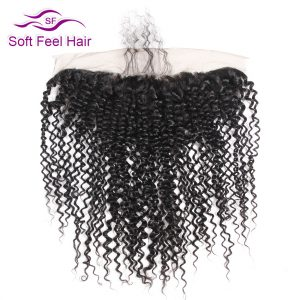 Soft Feel Hair Brazilian Kinky Curly Frontal 13x4 Ear To Ear Lace Frontal Closure Non Remy Human Hair 10-20 Inch Natural Color