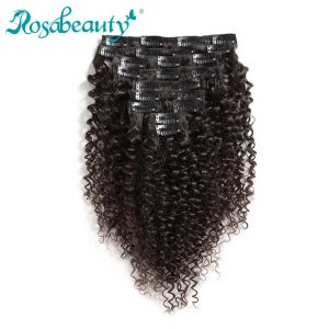 Rosabeauty Kinky Curly 10 Pieces/Set Clip In Human Hair Extensions Brazilian Remy Hair Natural Color 140G/set