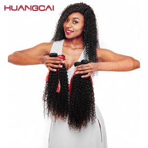 Huangcai Hair Brazilian Kinky Curly Hair Weft Natural Color Remy Hair Extensions 100% Human Hair Bundles 10 to 28 Inch Can Buy 3