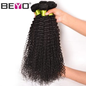 Beyo Hair Peruvian Kinky Curly Weave Human Hair Bundles Natural Color 1 Piece Non-Remy Weaving Hair Bundles Free Shipping