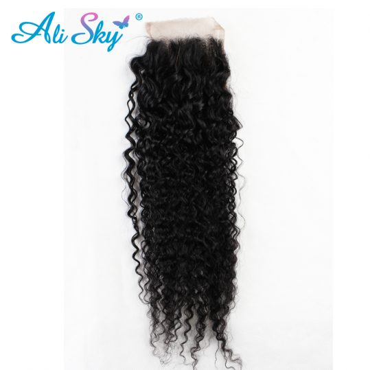Ali Sky Peruvian Nonremy Kinky Curly Closure 4x4  black color Human Hair Medium Brown Swiss Lace Can Be Dyed
