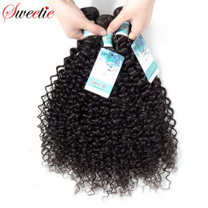 Sweetie Hair Peruvian Kinky Curly Wave 100% Human Hair Weaving Extensions no remy 1 Piece Only 100g Natural Black Free Shipping
