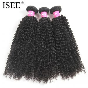 ISEE Hair Peruvian Kinky Curly Hair Weave 100% Human Hair Bundles Natural Color Non-Remy Hair Extension Free Shipping One Piece