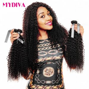 Mydiva Malaysian Kinky Curly Human Hair Extension One Bundle Natural Black 10-28Inch Remy Hair Weave Can Be Dyed