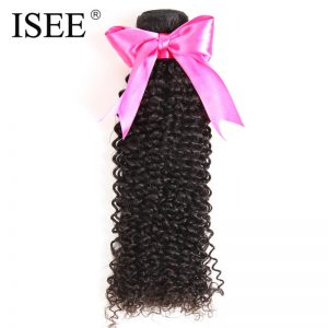 ISEE Malaysian kinky Curly Hair 100% Human Hair Extensions Remy Hair Weave Bundles Free Shipping
