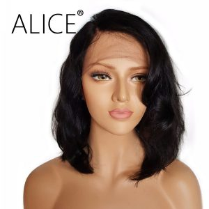 ALICE Short Full Lace Human Hair Wigs With Baby Hair For Black Women Brazilian Virgin Hair Wavy Lace Wigs For Black Women