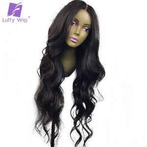 Luffy 13x6 Glueless Lace Front Human Hair Wigs for Black Women Middle Part Brazilian Non Remy Hair Wavy Wig Pre Plucked Hairline