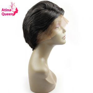 Atina Queen Short Cut Glueless Full Lace Human Hair Wigs for Black Women Brazilian Virgin Hair Wavy Bob Wig Natural Hairline