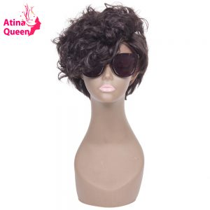 Atina Queen Wavy Short Bob Wigs Cut Glueless Full Lace Human Hair Wig for Black Women Brazilian Virgin Hair Natural Hairline