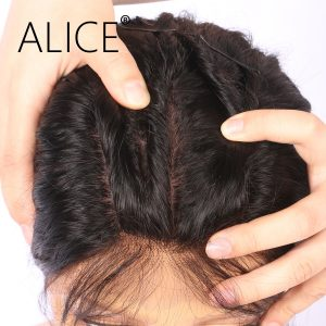 ALICE Wet And Wavy Silk Top Full Lace Wig With Baby Hair 130 Density Non Remy Brazilian Silk Base Wigs Natural Black Color