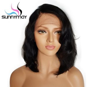 Sunnymay Short Bob Lace Front Human Hair Wigs With Baby Hair 8 to 16 Inch Glueless Brazilian Remy Wavy Wigs Bleached Knots