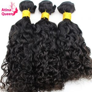 "Atina Queen Hair Products Brazilian Wet and Wavy Human Hair Weave Bundles Natural Color 10""-28"" Remy Hair Weaving Free Ship 1PC"