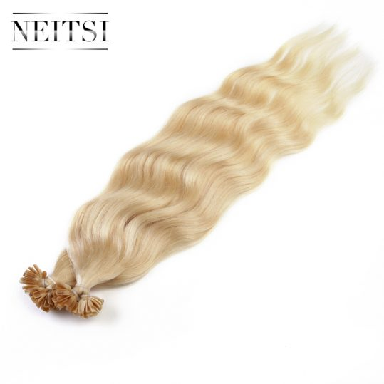 "Neitsi Wavy Indian Machine Made Remy Human Fusion Hair U Nail Tip 100% Human Hair Keratin Extensions 20"" 1g/s 50g/pack 18 Colors"