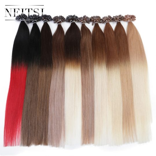 "Neitsi Indian Straight Keratin Capsules Human Fusion Hair Nail U Tip Machine Made Remy Human Hair Extension 16"" 20"" 24"" 1g/s 50g"