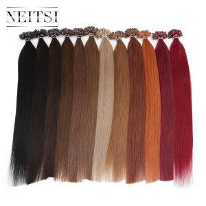 "Neitsi Indian Straight Keratin Capsules Human Fusion Hair Nail U Tip Machine Made Remy Human Hair Extension 16"" 20"" 24"" 1g/s 50g"