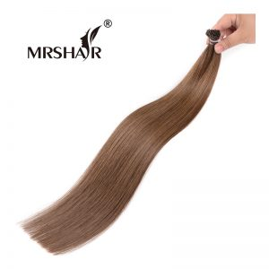 "MRSHAIR 6# I Tip Hair Extension Keratin 16"" 20"" 24"" 1g/pc Non Remy Middle Brown Stick Tip Hair Capsule Fusion Hair Straight"