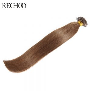 Rechoo 1g/strand Nail U Tip Pre-Bonded Keratin Glue Non-Remy Natural Hair Extensions 100 strands 18inch-26inch Real Human Hair