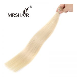 "MRSHAIR 60 Keratin Human Hair Extensions I Tip 1g/pc Platinum Blonde Hair Straight Non Remy Fusion Extensions 50pcs 16"" 20"" 24"""