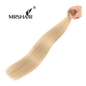 "MRSHAIR 16# Fusion Hair On Capsules 1g Golden Blonde U Tip Hair Straight Non Remy Hair Pre Bonded Hair Extensions 16"" 20"" 24"""