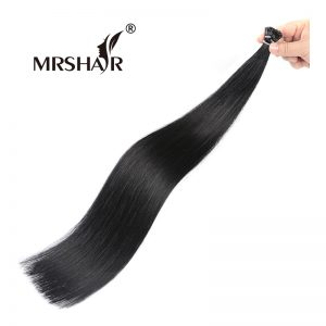 "MRSHAIR 1# I Tip Human Hair Extensions 16"" 20"" 24"" 1g/pc Non Remy Fusion Keratin Hair Extension Black I Tip Pre Bonded Real Hair"
