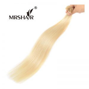 "MRSHAIR 60# Hot Fusion Hair Extensions 1g/pc 16"" 20"" 24"" U Tip Hair Keratin Non Remy Platinum Blonde Pre Bonded Human Hair"