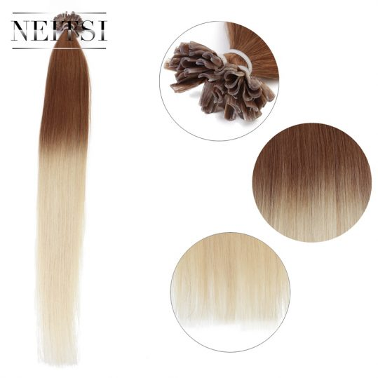 "Neitsi Straight Indian Keratin Human Fusion Hair Nail U Tip Machine Made Remy Ombre Human Hair Extensions 20"" 1g/s 50g 100g 150g"