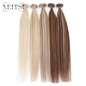 "Neitsi Straight Brazilian Human Fusion Keratin Hair Nail U Tip Machine Made Remy Human Hair Extensions 16"" 20"" 24""1g/s 50g 100g"