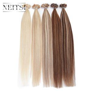 "Neitsi Straight Brazilian Human Fusion Keratin Hair Nail U Tip Machine Made Remy Human Hair Extensions 16"" 20"" 24""1g/s 50g 100g"