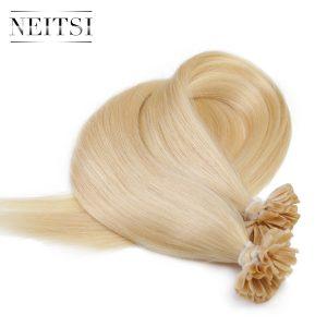 "Neitsi Straight Brazilian Keratin Human Fusion Hair Nail U Tip Machine Made Remy Hair Extension 16"" 20"" 24""1g/s 100g Muti-Colors"