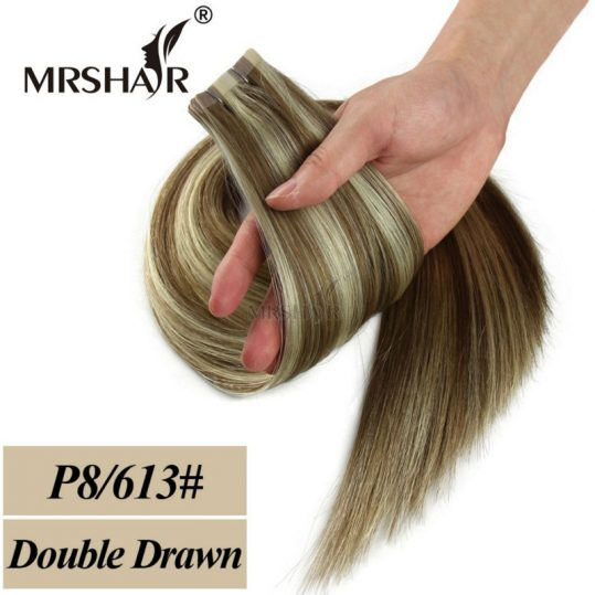 MRSHAIR Double Drawn Tape In Human Hair Extensions Hair Remy Straight Bundles Weave On Adhesives European Hair Blonde 20pcs