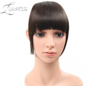 Luxurious 100% Human Remy Hair Front Neat Bangs Natural color Clip In Human Hair Extensions 6inch 1Pc Free Shipping