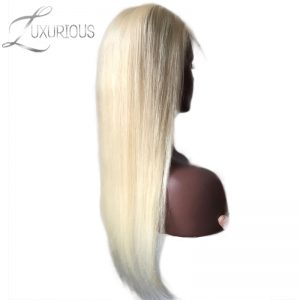 Luxurious Full Lace Human Hair Wigs Blonde #613 Straight Brazilian Remy Hair Transparent Lace For Black/White Women