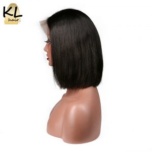 "KL Hair Straight Full Lace Human Hair Wigs 8""~14"" Natural Black Color 1B Brazilian Remy Hair Short Bob Wigs For Black Women"