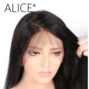 ALICE C Part Full Lace Human Hair Wigs For Black Women 8-24 Inch Brazilian Remy Hair Straight Human Hair Wigs Bleached Knots