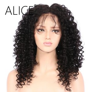 ALICE Kinky Curly Full Lace Human Hair Wigs 8-24 Inches Natural Color Remy Brazilian Hair Pre Plucked Lace Wig Bleached Knots