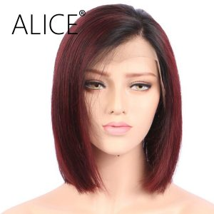 """ALICE Short Straight Full Lace Human Hair Wigs Ombre With Baby Hair 8""""-14"""" Brazilian Remy Hair Bob Wigs For Black Women"""