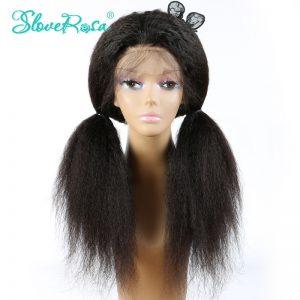Slove Rosa Hair Products Kinky Straight Full Lace Human Hair Wigs Brazilian Remy Hair Italian Yaki African American Hair Wigs