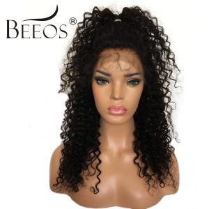 BEEOS Glueless Full Lace Human Hair Wigs Pre Plucked Brazilian Remy Hair Human Curly Lace Wigs Natural Hairline Bleached Knots