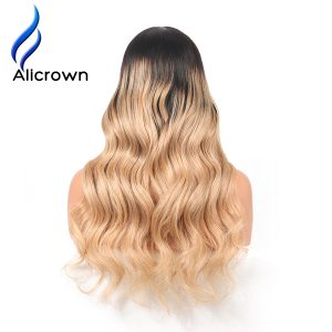 Alicrown 180%Density Ombre 1B/ 27 Colored Full Lace Human Hair wigs Pre Plucked Body Wave Brazilian Remy Hair Wig With Baby Hair