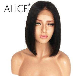 ALICE 150 Density Full Lace Bob Wig Straight Brazilian Virgin Hair Short Bob Wigs For Black Women Middle Part Natural Hairline